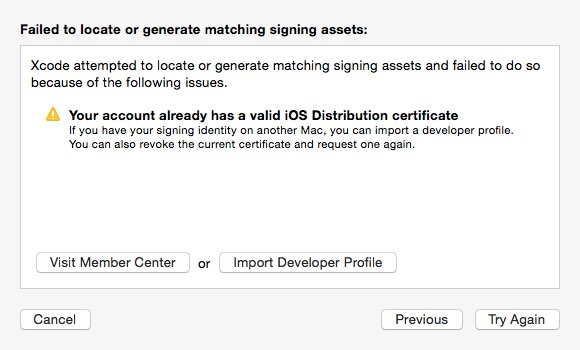 【iOS_App, Signing周り】Your account already has a valid iOS Distribution certificate