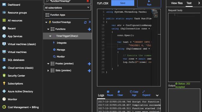 Azure Functions から SQL Database に書き込む (ポータル版とVS版)