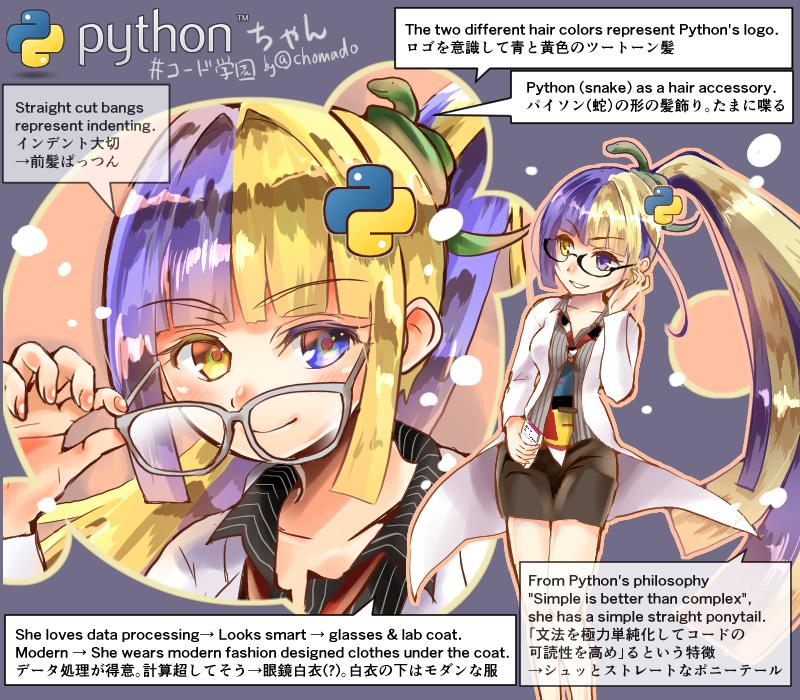 『Python ちゃん』を創った #Python #プログラミング言語擬人化 ...